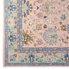 Inspired by traditional Turkish Oushak rugs, this low-pile hand-knotted design contains hues in soft peach, sage green and dusty blues. Peach Rug, Blue Peach, Dusty Blue, Blue Living Room Decor, Rugs In Living Room, Bedroom Decor, Custom Rugs, Custom Pillows, Hand Knotted Rugs