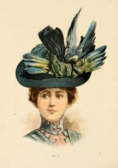 the latest hat fashions from 1899-1900. Turn of the century millinery. - I really want to use some bird wings in my designs
