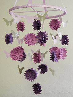 Dahlia and Butterfly Paper Mobile  without by whimsicalaccents, $95.00