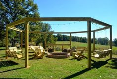 Remodelaholic | Tutorial: Build an Amazing DIY Pergola and Firepit with Swings