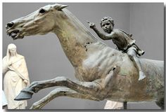 The Jockey of Artemision, galloping on his horse, dated around 140 BC. Found in pieces, it was discovered in north Euboea off the cape of Artemision, in the area of a shipwreck. ATHENS Museum