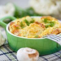 Golden Cauliflower Mushroom Egg Bake
