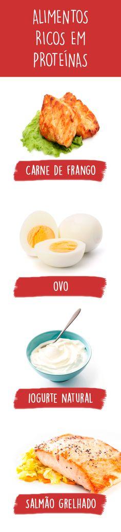 Os alimentos mais ricos em proteína são os de origem animal como carne, peixe, ovo, leite, queijo e iogurte, mas os vegetais como ervilhas e soja, também possuem proteína, no entanto, não são tão completas como as de origem animal.