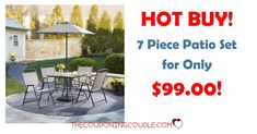 HOT BUY! Get a 7 Piece Patio Set for only $99! Perfect for the patio without breaking the bank!  Click the link below to get all of the details ► http://www.thecouponingcouple.com/hot-7-piece-patio-set-for-only-99-home-depot/ #Coupons #Couponing #CouponCommunity  Visit us at http://www.thecouponingcouple.com for more great posts!