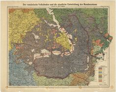 """Map of the Kingdom of Romania with the borders after """"Reproduction of a German document showing, after Paul Langhans, the territories inhabited by Romanians"""" (MNIR, Inv. Historical Maps, Vintage World Maps, German, Geography, Deutsch, German Language"""