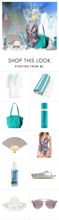 """Tropical Vacation ~ Hit the Beach!"" by pwhiteaurora ❤ liked on Polyvore featuring Blue Island, Linum Home Textiles, Vera Bradley, Moroccanoil, Cultural Intrigue, Kenneth Cole, FitFlop, New Directions, Bobbi Brown Cosmetics and TropicalVacation"