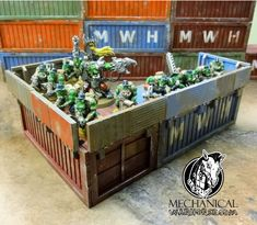 Orks holding down the container fort. Mechanical Warhorse shipping containers with side rails add some need cover for your games. Shipping Containers, Games, Cover, Gaming, Toys, Blanket, Game, Spelling