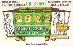 Motel Cable Matchcover San Francisco