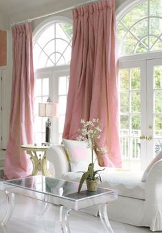 ♡ Home Pink Home ♡  pink curtains  In another color, this gives me ideas for the windows in the breakfast room. Home Interior, Interior Decorating, Interior Design, Bathroom Interior, Decorating Tips, Deco Rose, Pink Curtains, Piece A Vivre, Pink Houses