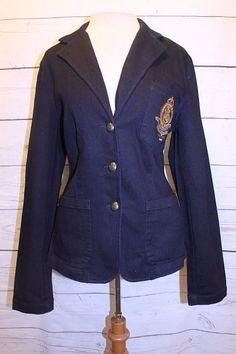 Lauren Jeans Co Coat L Blue Dark Wash Crested Pocket Classic Denim Blazer Jacket #LaurenJeansCo #Blazer