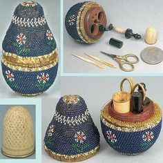 ca 1860 French beaded pear child's etui sewing set