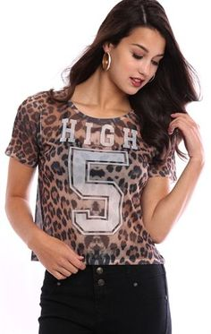 Deb Shops Short Sleeve Cheetah Print Mesh Tee Shirt with High 5 Screen $14.25