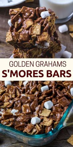 These golden grahams s'mores bars will be your new favorite way to enjoy s'mores. Gooey, chewy, crunchy and filled with chocolate. Recettes de cuisine Gâteaux et desserts Cuisine et boissons Cookies et biscuits Cooking recipes Dessert recipes Smores Dessert, Bon Dessert, Appetizer Dessert, Smores Bar Recipe, Smores Cups, Easy Dessert Bars, Simple Dessert, Appetizers, Dessert Healthy