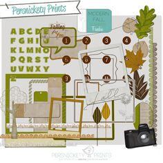Freebie Modern Fall Elements, from Persnickety Prints. 300 dpi