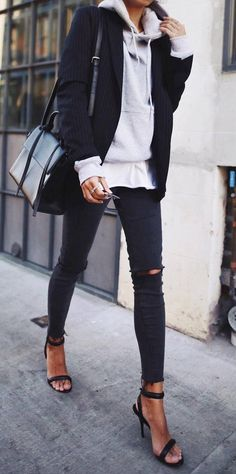 casual style obsession / bag + blazer + sweatshirt + rips + heels