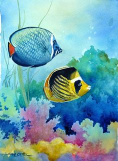 Under the Sea tropical fish watercolor by Suelynn Cotton The Effective Pictures We Offer You About S Watercolor Paintings Of Animals, Beach Watercolor, Fish Paintings, Sea Life Art, Sea Art, Ocean Life, Underwater Painting, Paintings Famous, Fish Drawings