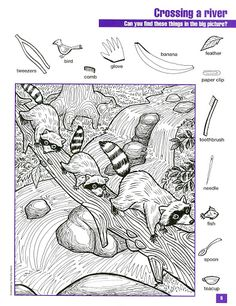 Hidden Object Puzzles, Hidden Picture Puzzles, Hidden Objects, Colouring Pages, Coloring Sheets, Coloring Books, Hidden Pictures Printables, Visual Perceptual Activities, Hidden Images