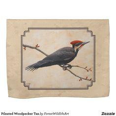 Pileated Woodpecker Tan Kitchen Towels