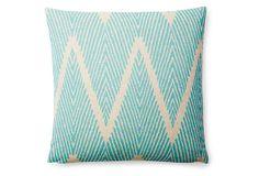 Bali 18x18 Cotton Pillow, Turquoise