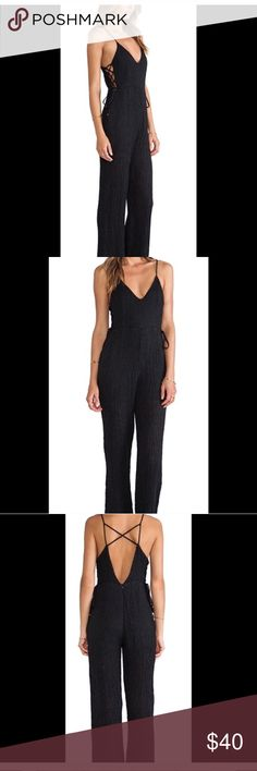 Strapped lace up jumpsuit NWT. Line&Dot charcoal wide leg jumpsuit. 100%l linen and fully lined. Size small, fits like a 4 Line & Dot Other