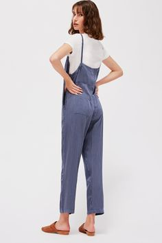 f21790ad78 Lacausa Harper oversized overalls pinstripe navy
