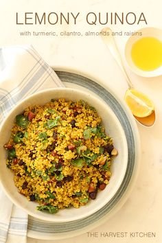 from The Harvest Kitchen / this Lemony Quinoa with Turmeric is one of my faves - great combo of flavors - lemon, turmeric, cilantro, almonds and raisins. @theharvestkitchen.com