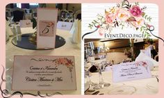 Wedding menu & Wedding place card by Event Deco. Find us on Facebook, Event.Deco.page! Wedding Place Cards, Wedding Menu, Floral Wedding, Find Us On Facebook, Anniversary Parties, Christening, Place Card Holders, Romantic, Table Decorations