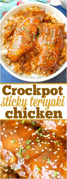 This easy crockpot sticky teriyaki chicken with a kick of heat recipe is amazing and a healthy meal too! Sweet with just a pinch of Sriracha makes it great! via @thetypicalmom