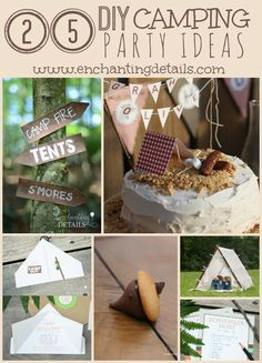 25 DIY Camping Party Ideas | We've rounded up 25 of our favorite camping party ideas that you can DIY! From campfire cakes to tent invitations, click through our round-up to get inspired for your camping themed event!