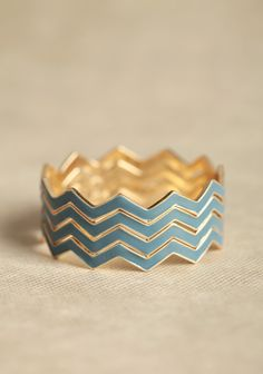 $15.99 Crossed Paths Chevron Bangle Set In Blue | Modern Vintage Jewelry