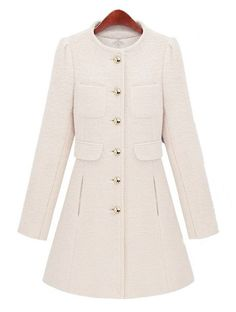White Long Sleeve Single Breasted Pockets Coat :) Gorgeous :}