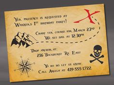 Pirate Birthday Invitation by ayleighdesigns on Etsy, $1.25