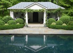 In Good Taste: Leigh Giles Interior Design - Design Chic Outdoor Spaces, Outdoor Living, Cottage Floor Plans, Virginia Homes, Garden Structures, Cool Pools, Pool Houses, Pool Designs, Beautiful Landscapes