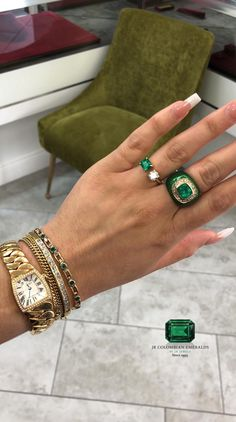 Stacking is a habit 💥 Really loving this look today, what do you think? Available pieces: diamond bangle bracelet two toned emerald bracelet emerald and diamond cuff ring cushion cut statement ring Diamond Tennis Necklace, Emerald Bracelet, Diamond Bangle, Diamond Jewelry, Emerald Rings, Ruby Rings, Diamond Pendant, Diamond Rings, Colombian Emerald Ring