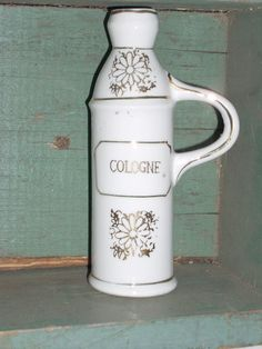 shabby cottage chic VINTAGE COLOGNE BOTTLE by COTTAGEGOLD on Etsy, $22.00
