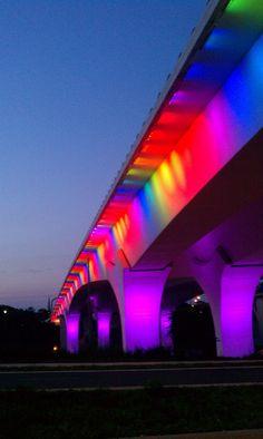 Rainbow Bridge @ I-35W bridge in Minneapolis - we should do this at the exit 14W overpass on I-89 in Burlington!