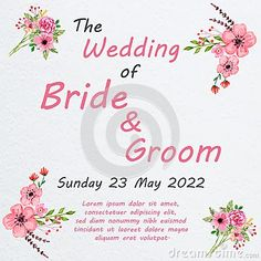 Illustration about Wedding invitation card with flowers, and dividers, ideal for weddings. Pink and grey colors. Illustration of wedding, grey, color - 111590063 Grey Colors, Wedding Invitation Cards, Dividers, Lorem Ipsum, Pink Grey, Bride Groom, Weddings, Illustration, Flowers
