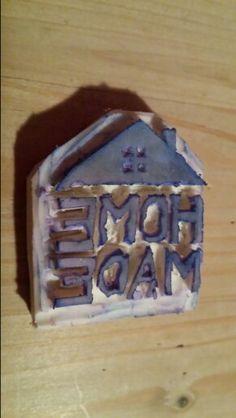 Home made stamp van een gum