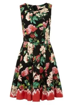 Look at this Black & Coral Floral Fit & Flare Dress Occasion Wear, Special Occasion Dresses, Flare Skirt, Fit Flare Dress, Dip Dye Dresses, Philly Style, Garden Dress, Vintage Inspired Dresses, House Dress