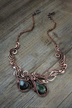 Labradorite pendant Copper pendant Wire wrap necklace Green Labradorite…