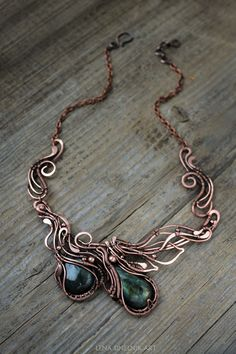 Labradorite pendant Copper pendant Wire wrap necklace Green Labradorite…