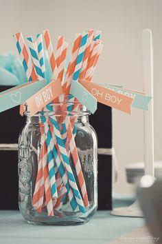 aqua orange baby shower straws