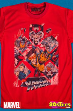 Children of the Atom X-Men T-Shirt: Marvel Comics Mens T-Shirt X-Men Geeks:  These celebrity characters have been seen in films and comic books and the design and illustration of the art on this product makes it a must have to your men's fashion t-shirts.