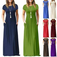 Plus Size Womens Short Sleeve Maxi Long Loose Dress Solid Party Shirt Sundress Long Summer Dresses, Evening Dresses, Bohemian Maxi Skirt, Party Shirts, Chiffon, Nice Dresses, Fashion Dresses, Women's Fashion, Short Sleeve Dresses