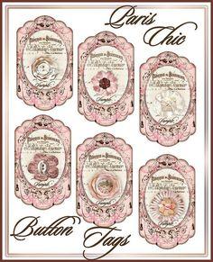 Paris Chic French Ephemera Button Card Cottage por SenecaPondCrafts, $2.00