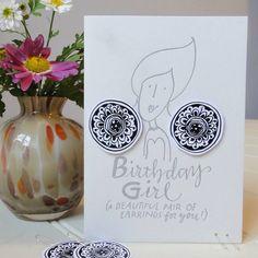 Handmade birthday earrings card letterpressed