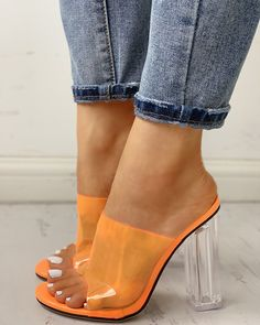 Open Toe Transparent Chunky Heeled Sandals We Miss Moda is a leading Women's Clothing Store. Offering the newest Fashion and Trending Styles. Women's Shoes, Wedge Shoes, Shoes Style, Golf Shoes, Teen Shoes, Dance Shoes, Prom Heels, Pumps Heels, Heeled Sandals