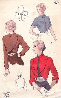 1950s Vintage Womens Sewing Pattern Bolero by Sutlerssundries