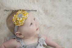 Yellow and Gray Chevron Stripe Shabby Chic by OnceUponATimeTuTus