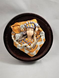 Polymer Clay Sculpture Wall Decor on Wooden Block by Mycyberattic on Etsy